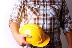 Budynek budowy technik niesie kapelusz obrazy royalty free