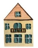 Budynek dwupiętrowy z balkonem na białym tle beak dekoracyjnego lataj?cego ilustracyjnego wizerunek sw?j papierowa kawa?ka dym?wk ilustracja wektor