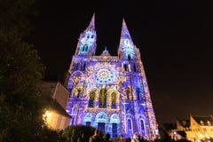 Budynek fasady światła festiwal Chartres fotografia royalty free