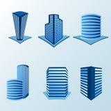 Budynek ikona ustawiająca w błękitnym brzmieniu Obrazy Stock