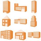 budynek ikony zestaw ilustracji