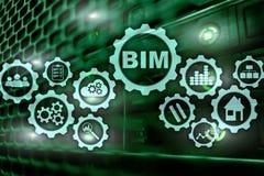 Budynek informaci wzorowanie BIM na wirtualnym ekranie z serweru centrum danych t?em ilustracja wektor