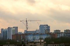 budynek miasta wieczorem Moscow wysoki wzrost Zdjęcia Stock