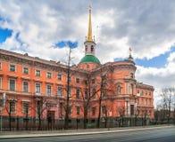 Budynek Mikhailovsky kasztel od Sadovaya ulicy wewnątrz Zdjęcia Royalty Free