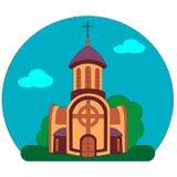 Budynek monaster na tle krajobraz lub ko?ci?? lata niebieskie niebo, zielona trawa i drzewa ilustracja wektor