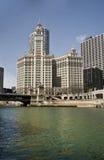 budynek nad rzecznym Wrigley Chicago Obraz Royalty Free