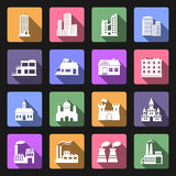 Budynek płaskie ikony ustawiać Zdjęcia Stock