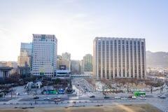Budynek rzędu centralnego kompleks w Gwanghwamun kwadracie, Seul miasto zdjęcie royalty free