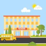 Budynek szkoły z autobusem szkolnym ilustracja wektor