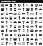 100 budynków ikony set, prosty styl royalty ilustracja