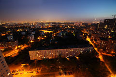 budynków Moscow noc Russia Zdjęcia Stock