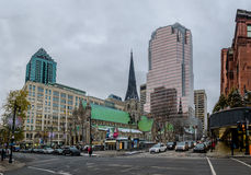 Budynki i drapacze chmur w śródmieściu - Montreal, Quebec, Kanada obrazy stock