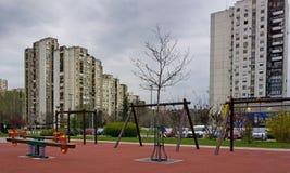 Budynki i park w Nowym Belgrade Obrazy Stock