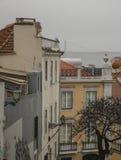 Budynki Lisbon, 25 De Abril Przerzucający most Obrazy Stock