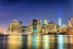 Budynki Manhattan linia horyzontu nowego Jorku Zdjęcia Stock