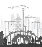 budynki miejsce żurawi Miasta backgroundEaster królik i jajka tło, nakreślenie royalty ilustracja