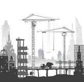 budynki miejsce żurawi Miasta backgroundEaster królik i jajka tło, nakreślenie ilustracji