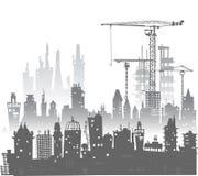 budynki miejsce żurawi tła miasta noc ulica ilustracja wektor