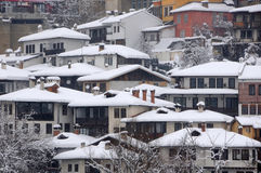 Budynki Mieszkalni na wzgórzu w zimie Obrazy Royalty Free