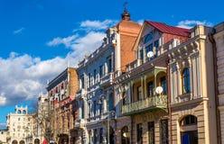 Budynki na Dimitri Uznadze ulicie Tbilisi zdjęcia royalty free