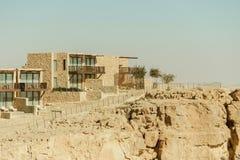Budynki na górze w pustynia negew Zdjęcia Royalty Free