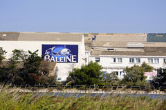 Budynki przemysłowy przedsięwzięcie zasolony Aigues-Mortes Zdjęcia Stock