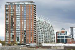 Budynki przy Machester statku kanału i Salford doku terenem w UK fotografia royalty free