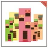 Budynki Ustawiający ikony lokalny biznesowy biały tło Zdjęcie Royalty Free