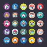 Budynki Ustawiający Płaskie ikony Fotografia Stock