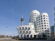 Budynki w Medialnym schronieniu Dusseldorf obrazy stock