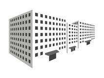 Budynki w perspektywie na białym tle Kontur domy miasto w 3D royalty ilustracja