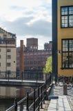 Budynki w przemysłowym krajobrazowym Norrkoping obraz stock