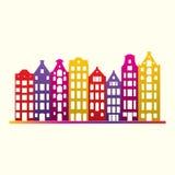 Budynki w starym europejczyka stylu Miasto domy ustawiający Miastowy krajobrazowy symbol Kolorowa i jaskrawa wektorowa ilustracja Fotografia Stock