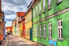 Budynki w starym miasteczku Helsingor, Dani - Fotografia Royalty Free