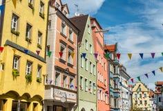Budynki w Starym miasteczku Regensburg, Niemcy zdjęcie stock