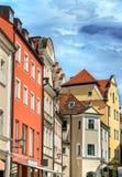 Budynki w Starym miasteczku Regensburg, Niemcy fotografia stock