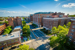 Budynki wzdłuż Saint Paul ulicy w Charles wiosce, Baltimore, Zdjęcie Royalty Free