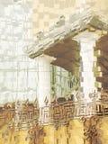 Budynku abstrakcjonistyczny tło z kolumnami i dekoracyjnym elementem Zdjęcia Stock