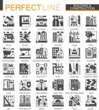 Budynku, budowy i domu naprawa, wytłacza wzory klasycznych czarnych mini pojęcie symbole Wektorowy nowożytny ikona piktogram Obraz Stock