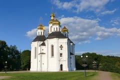 budynku Catherine Chernigov kościelni dandelions grass gazonu st Ukraine biel kolor żółty Fotografia Royalty Free