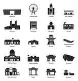 Budynku miasta ikony set Fotografia Royalty Free