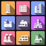 Budynku mieszkania ikony Obraz Stock