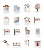 budynku nieruchomości ikony istne Zdjęcie Stock