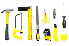Budynku, obrazu i naprawy narzędzia dla domowego konstruktora miejsca pracy tła odgórnego widoku ustalonego białego wzoru, Obrazy Stock