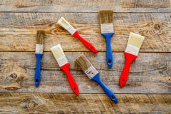 Budynku, obrazu i naprawy narzędzia dla domowego konstruktora miejsca pracy ustalonego drewnianego tła odgórnego widoku, Fotografia Stock