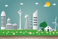 Budynku pejzażu miejskiego ekologia, silniki wiatrowi z drzewami i słońce czystej energii pojęcia życzliwi pomysły, ilustracja Zdjęcia Royalty Free