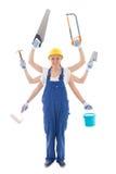 Budynku pojęcie - kobieta w budowniczego mundurze z 6 ręk trzymać Zdjęcia Stock