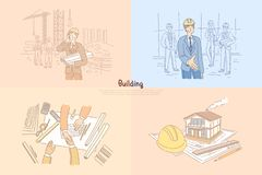 Budynku przemysł, budowa, młody architekta mienia szkic, biznesowy spotkanie, negocjacja sztandar ilustracji