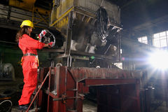 budynku przemysłu kobiety działanie Zdjęcia Stock