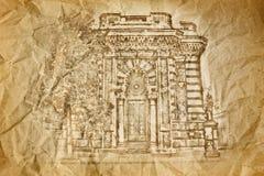 Budynku rysunek na starym papierze Fotografia Royalty Free